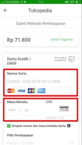 tokopedia クレジットカード