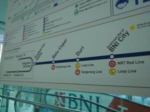 ジャカルタ空港鉄道 停車駅 路線図 スカルノハッタ空港 スディルマン ヤルネシアン